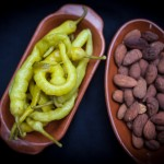 almonds and pickled riojan peppers